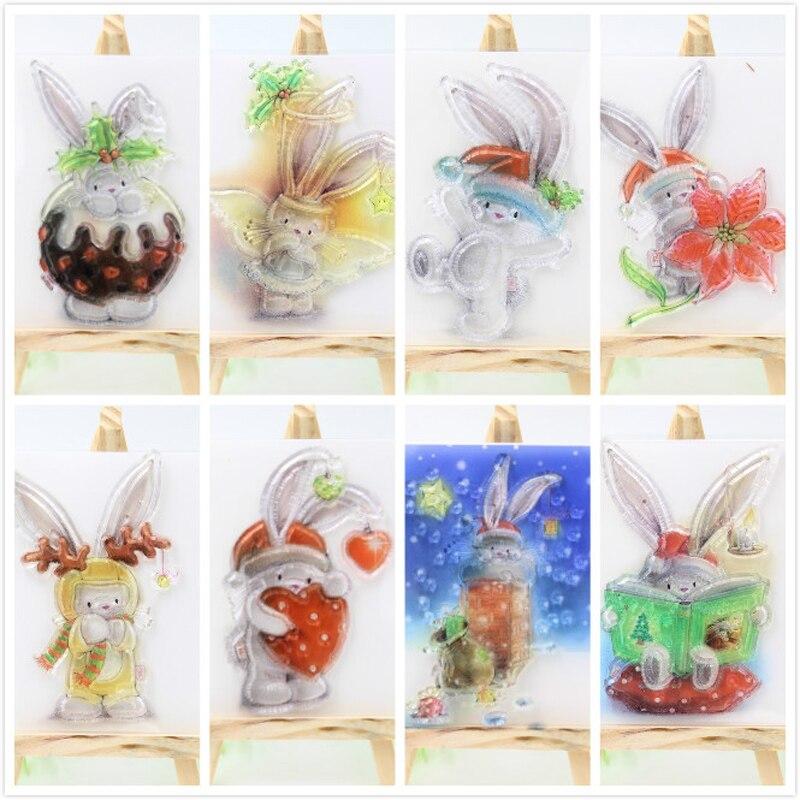 1PCS Rabbit design Transparent Stamp DIY Scrapbooking/Card Making/Christmas Decoration Supplies