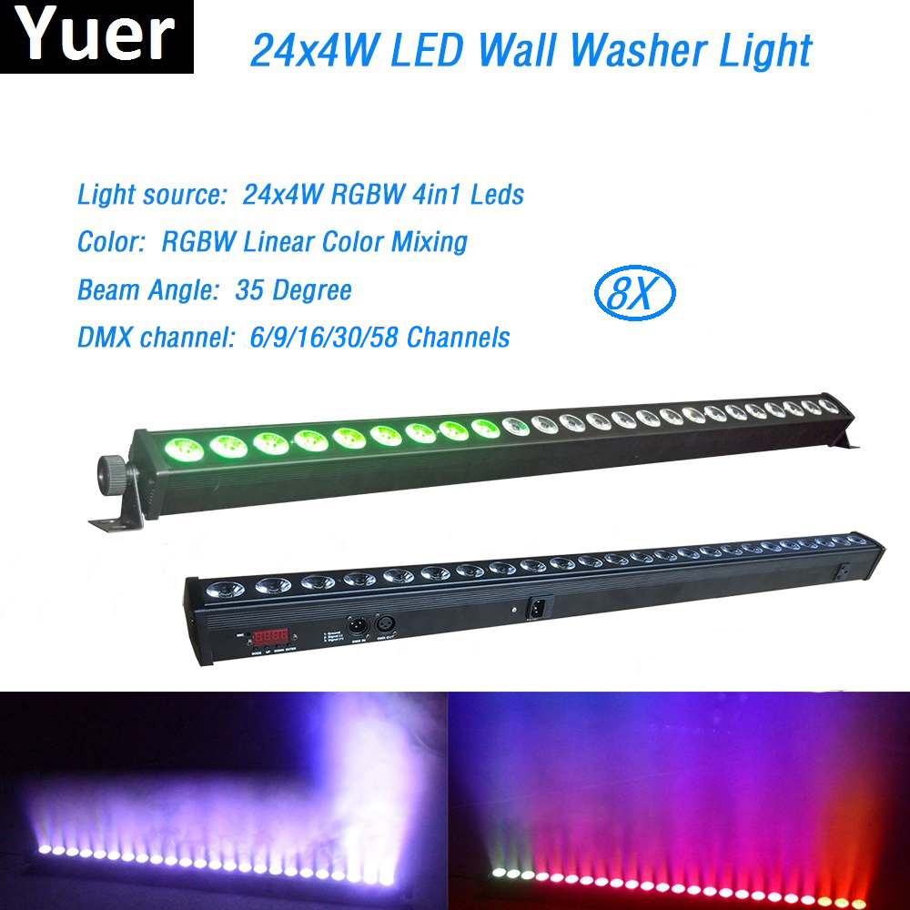 Free Shipping 8Pcs Lot 24x4W High Quality Led Wall Washer Light RGBW Led Bar Light DMX