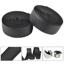 New High Quality Cycling Road Bike Sports Bicycle Cork Handlebar Tape Black + 2 Bar Plug Carbon fiber belt strap FZE002