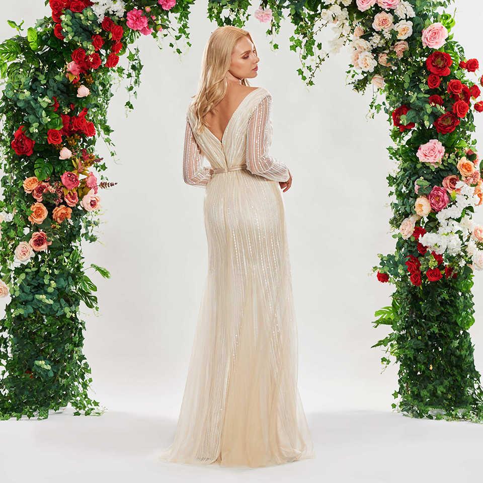 Dressv champanhe sereia vestido de casamento v pescoço mangas compridas rendas faixas até o chão nupcial ao ar livre & igreja vestidos de casamento