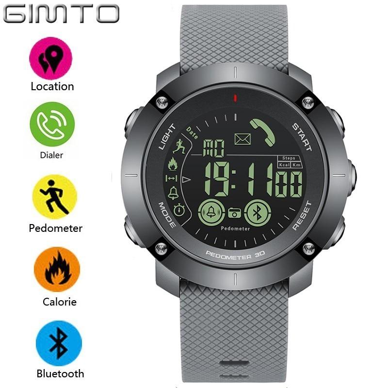 GIMTO Sport Smart Watch Men Pedometer LED Shockproof Waterproof Watch Digital Clock Electronic Wrist Watches Military Smartwatch цена и фото