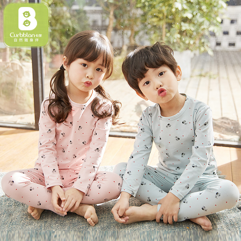 Curbblan baby girl boy clothes underwear cartoon Lycra cotton thick boy pajamas girl suit winter child long Johns warm Tracksuit