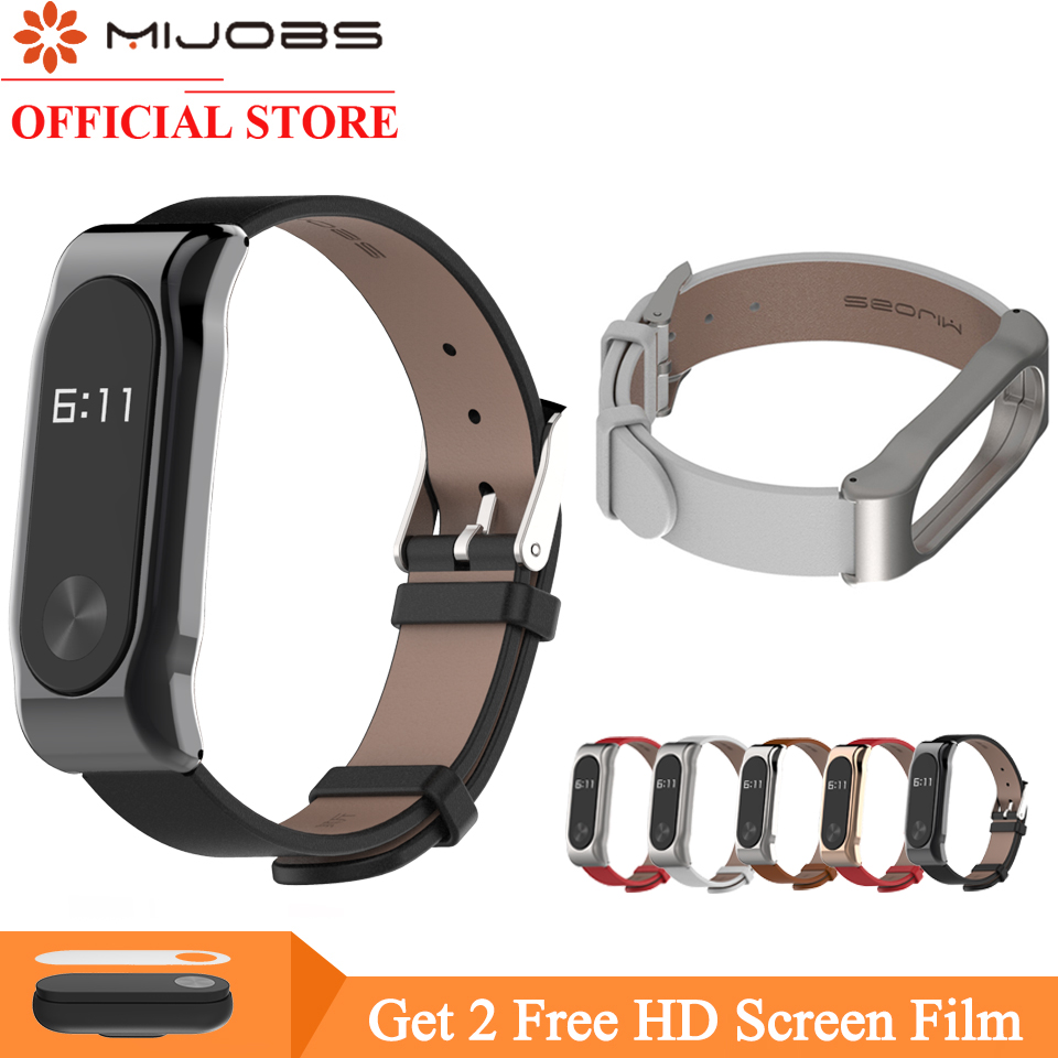 MIJOBS Adjustable Xiaomi Mi Band 2 Leather Strap with Metal Frame for MiBand 2 Version Smart Bracelet Xiao Mi Band Accessories strap