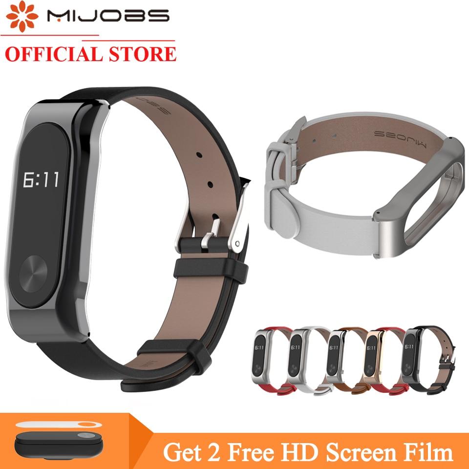 Mijobs кожена каишка за Xiaomi Mi лента 2 каишка без винтове каишка гривна гривна интелигентна лента подмяна за Mi Band 2 Wristbands  t