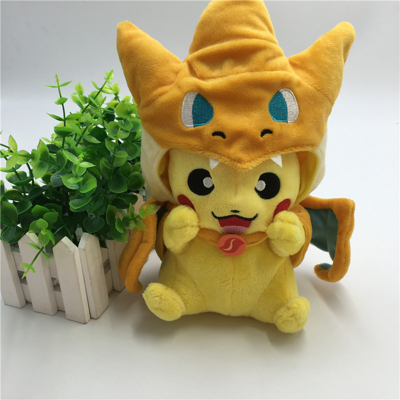Hot Pikachu Cosplay Mega Charmander Plush Toys Cute Kawaii Stuffed Animals Soft Baby Toy Cartoon Plush Dolls for Kids Gift