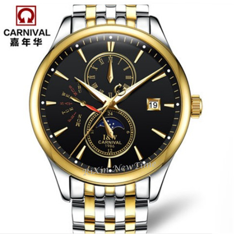 Switzerland Carnival moon phase Men Watches Top Brand Luxury Waterproof Automatic Mechanical Watch full steel montre homme uhren new carnival moon phase hot automatic mechanical brand watches men s military waterproof luxury full steel watch leather strap