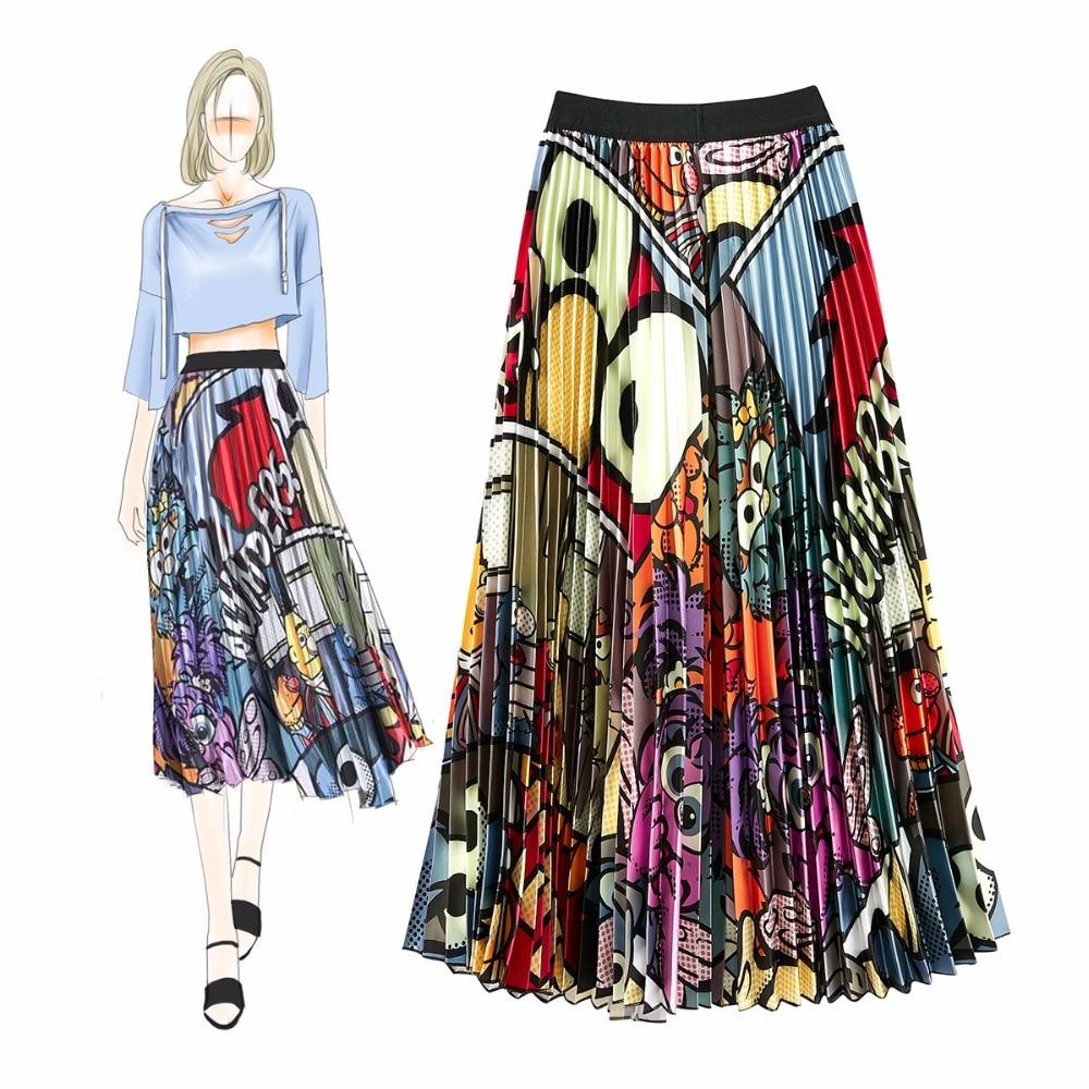High quality fashion print pleated Skirts Summer women