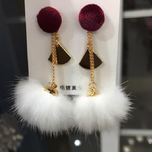 Charmcci  Korean Fashion Temperament Pom Pom Ball Mink Fur Long drop Earrings Pendientes Mujer Drop Long Brincos For Women