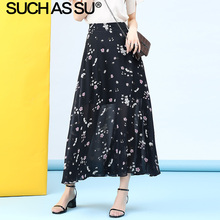 New Chiffon Long Skirt Women 2019 Summer Black Print High Waist A Line Skirt S-3XL Plus Size High Slit Ruffle Maxi Skirt Female все цены