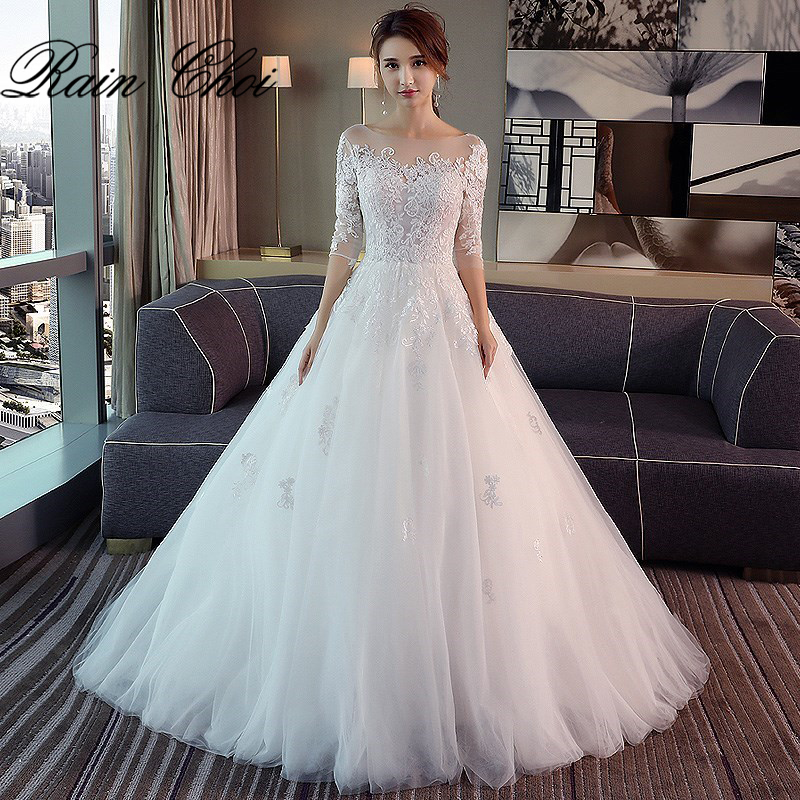 3/4 Sleeves Wedding Dresses Long 2020 A Line Bridal Gowns Vestido De Novia