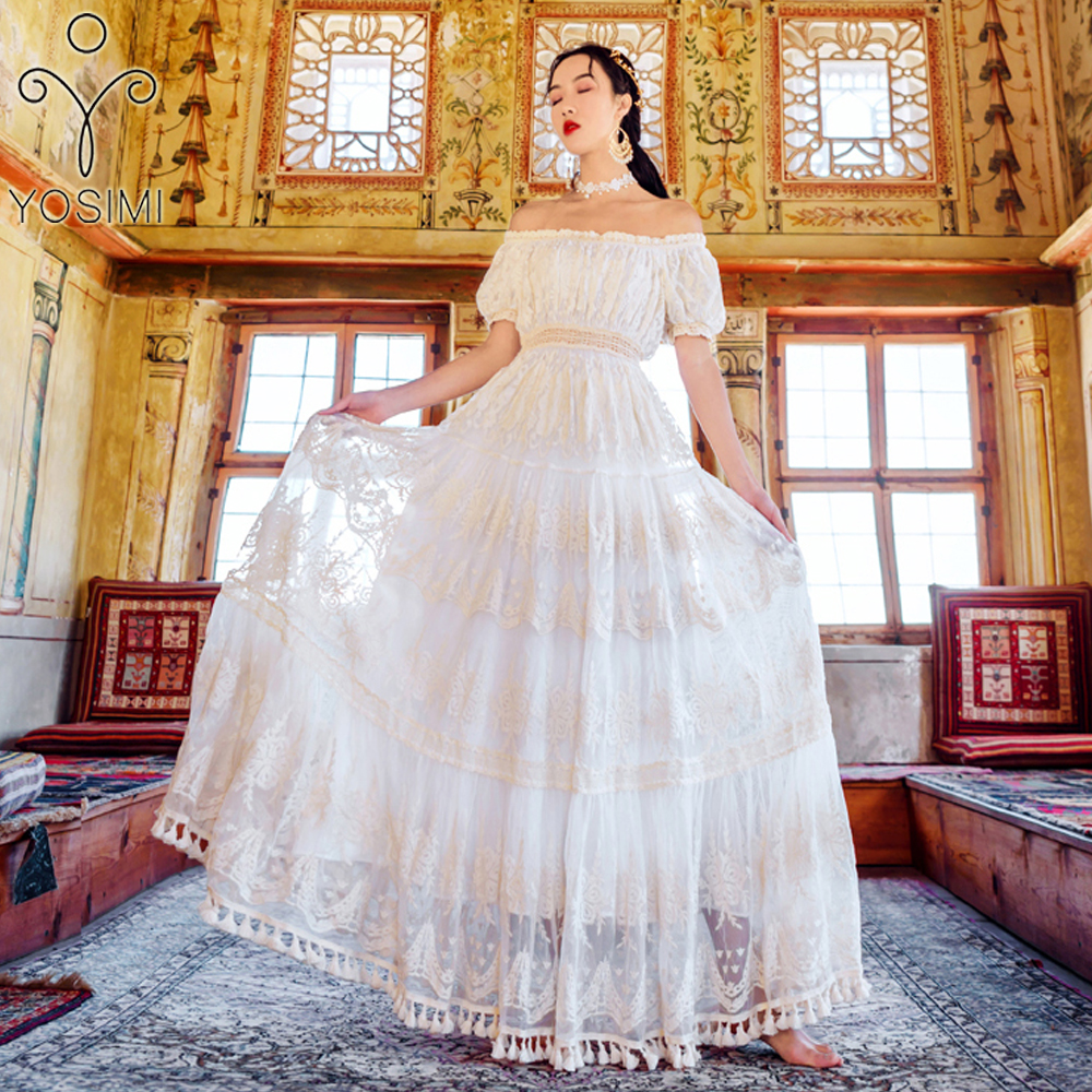 Kadın Giyim'ten Elbiseler'de YOSIMI 2019 Yaz Akşam Parti Beyaz Elbise Kadın Maxi Zarif Uzun Kadın Elbise Kısa Kollu Kapalı Omuz Kulübü Elbiseler'da  Grup 1