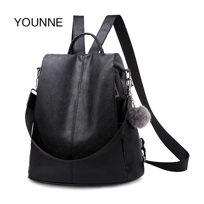 YOUNNE Women PU Leather Anti-Theft Backpack Soft Hairball Schoolbag For Travel Teenage Backpacks For Women backpacks 2019