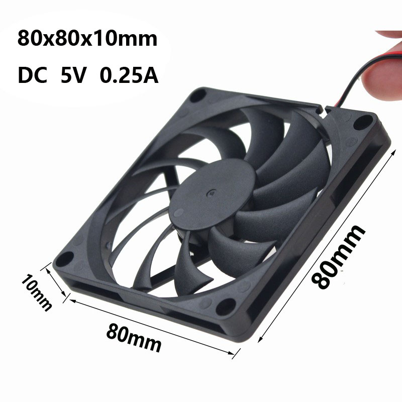 Gdstime 1 pcs 80mm x 10mm DC 5V 2Pin 80x80x10mm Brushless Computer PC Case Cooling Fan 8cm Cooler gdstime 1 pcs cooling fan 40mm x 15mm 4cm 2 pin dc 4015 small brushless cooler fan 12v pc computer chip 40x40mm