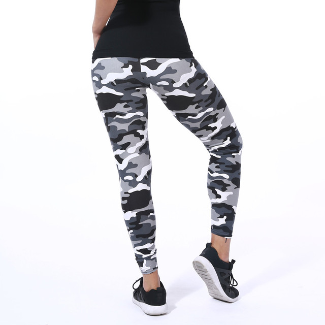 Yoga Pants Elastic Sport Camouflage Leggings 3D Print Thin Fleece Slim Jeggings 4