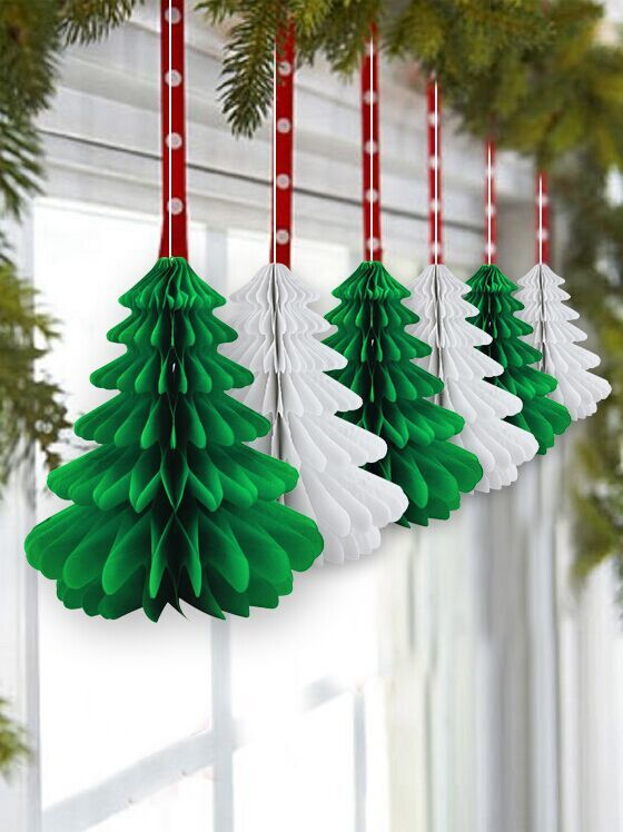 6pcs 26cm GreenWhite Christmas Hanging Trees Paper Decoration