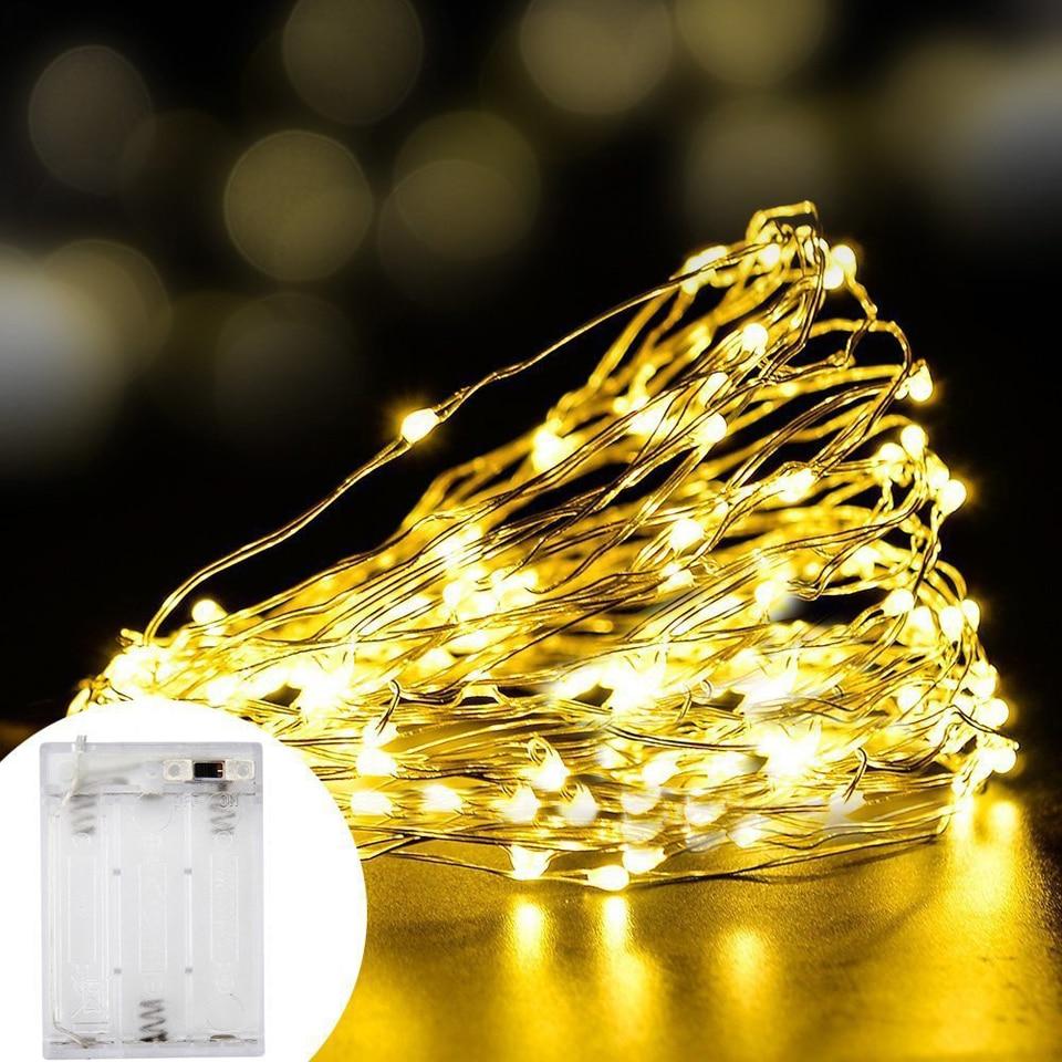 USB Holiday Fairy Lights Garland On Batteries Light LED String Decoration Christmas Outdoor Festoon Slingers Curtain Tinsel