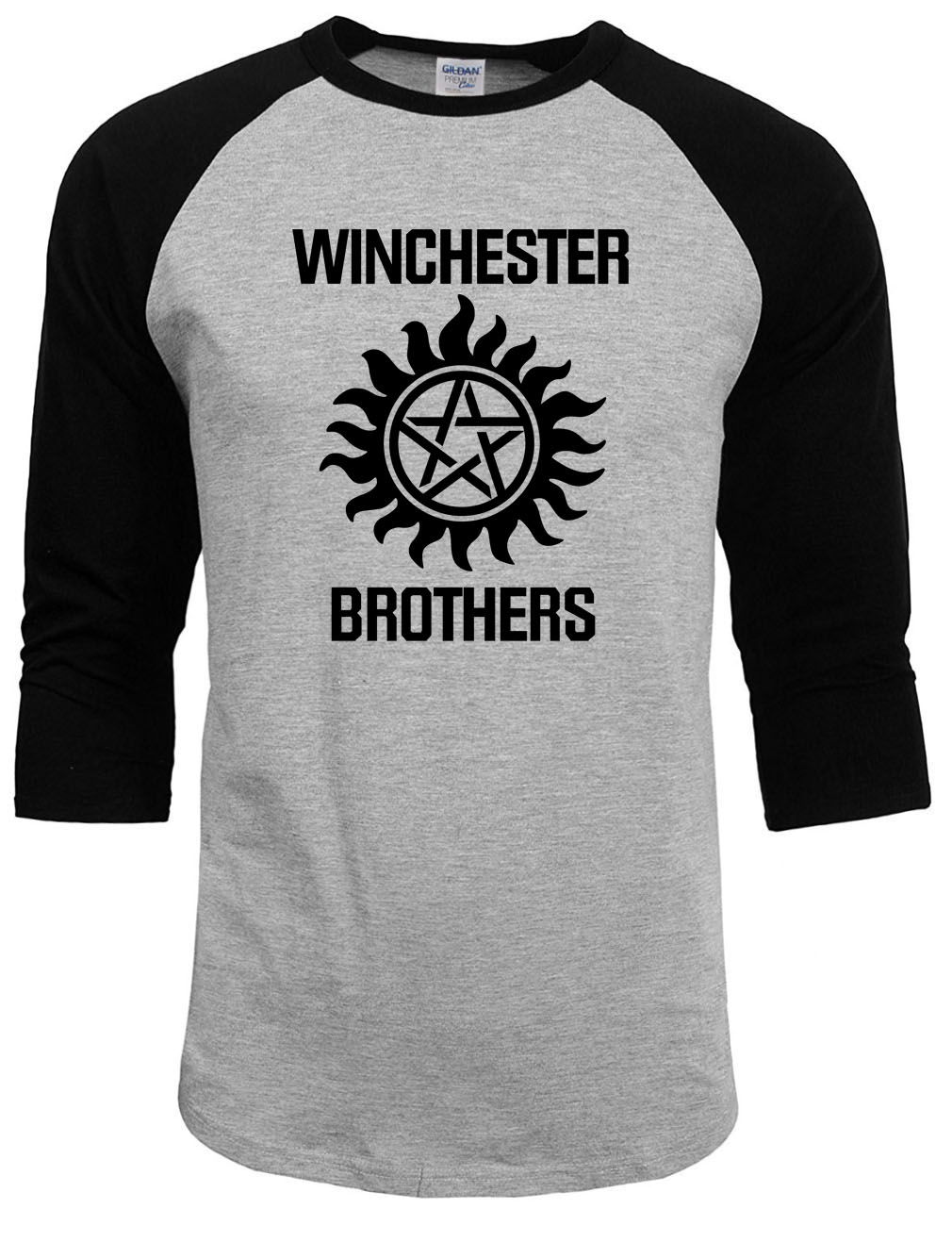 Supernatural tops tee   shirts   2019 summer autumn raglan sleeve funny crossfit winchester brothers   t     shirts   men streetwear homme