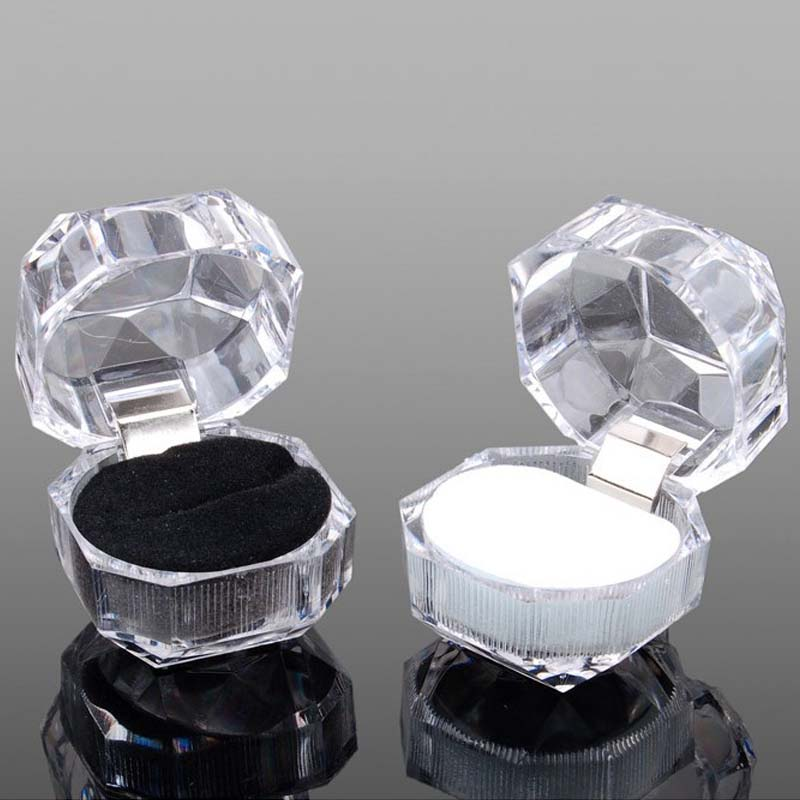 20pcs/lot Three Color Options Hot Sale Jewelry Package Ring Earring Box Acrylic Transparent Wedding Packaging Jewelry Box