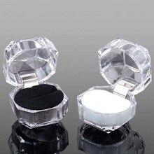 Купить с кэшбэком 20pcs/lot Three Color Options Hot Sale Jewelry Package Ring Earring Box Acrylic Transparent Wedding Packaging Jewelry Box