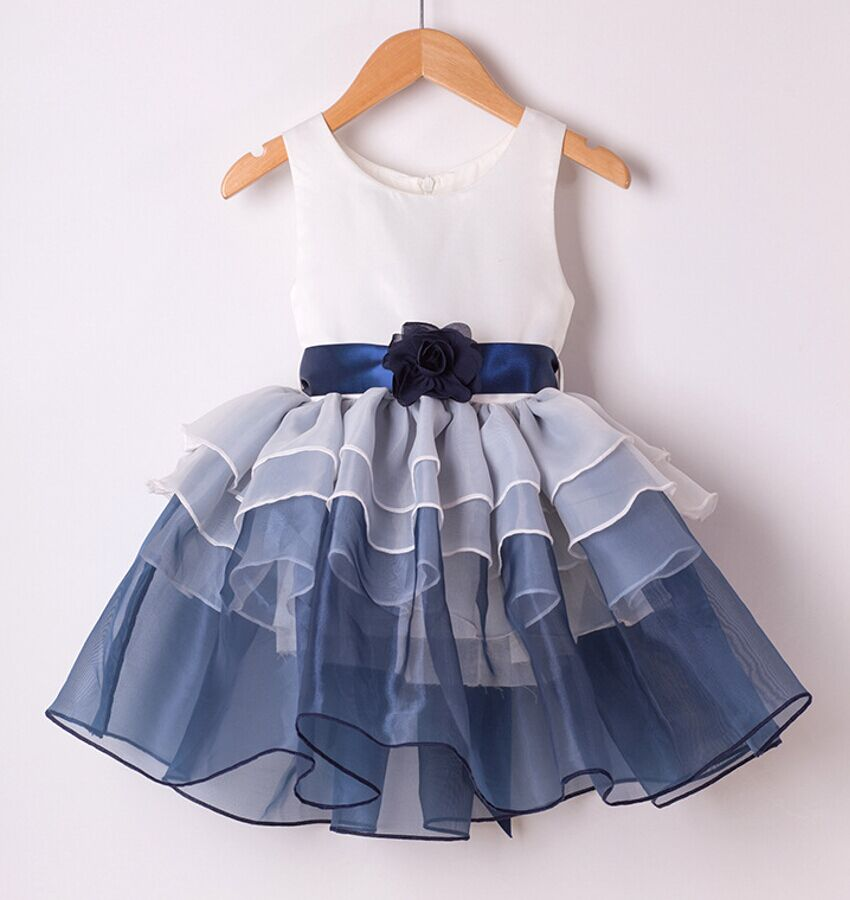2016 Layer Flower Girl Dress Baby Girls Princess Party Sleeveless Wedding Pageant party kids clothes 2 color 3-9 yrs