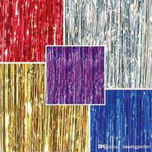 1m * 3m Tinsel Curtain Pub House Portiere Door Curtain Wedding Party Backdrop Stage Background Hanging Stripes wd504L3M