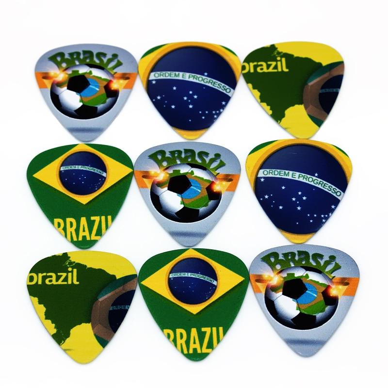 SOACH 50pcs Bass Guitar pick Brazilian national flag Plucked Instrument Accessories paddle Guitar / Acoustic guitar / ukulele