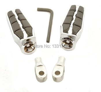 Chrome Wing Foot Pegs Rests For 1995-2006 Suzuki Intruder 1400 (Front)