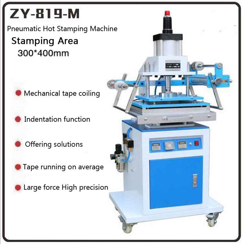 ZY 819M Pneumatic Gold Hot Stamping Machine Large Area 300 400MM Leather Embossing Machine Die