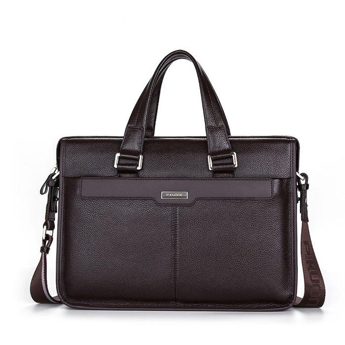 ФОТО Business 100% GENUINE LEATHER Men Briefcase Cowhide Handbags For Men Shoulder Bag Large 14
