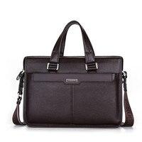 Business 100 GENUINE LEATHER Men Briefcase Cowhide Handbags For Men Shoulder Bag Large 14 15 6