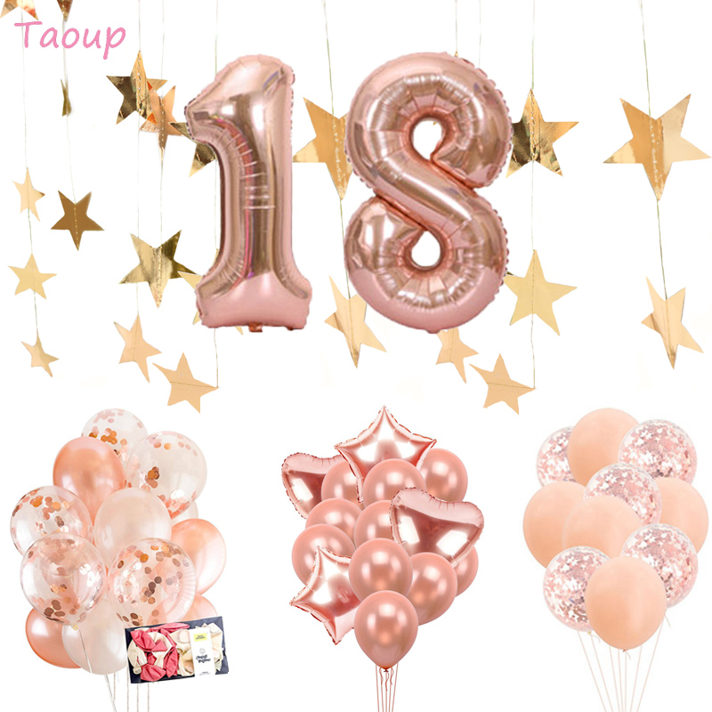 Taoup 40inch 18 Years <font><b>Birthday</b></font> Balloons Confetti Air <font><b>18th</b></font> Number Ballons Balloons Foil Happy <font><b>Birthday</b></font> <font><b>Decor</b></font> for Adults Ceremony image