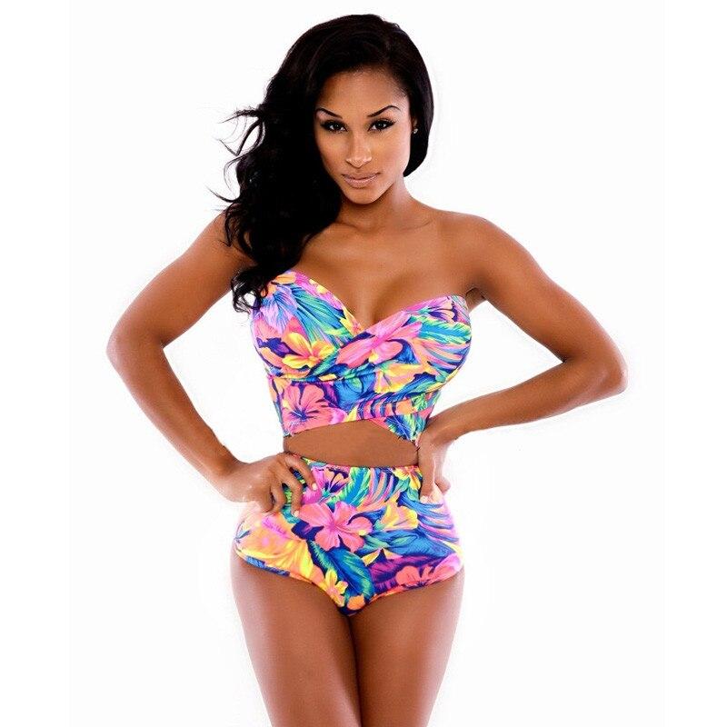 Atractivo de las mujeres Imprimir Bikini Set traje de Baño  Verano Bikini Brasil