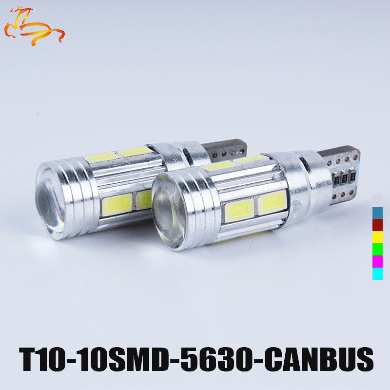 10PCS T10 LED canbus W5W 194 Interior Xenon White LED CANBUS NO OBC ERROR t10 10SMD 5630 5730 with Lens Projector Aluminum flytop 2 x w5w 10smd canbus t10 5630 smd 194 led car bulbs error free can bus auto lights white blue crystal blue yellow red