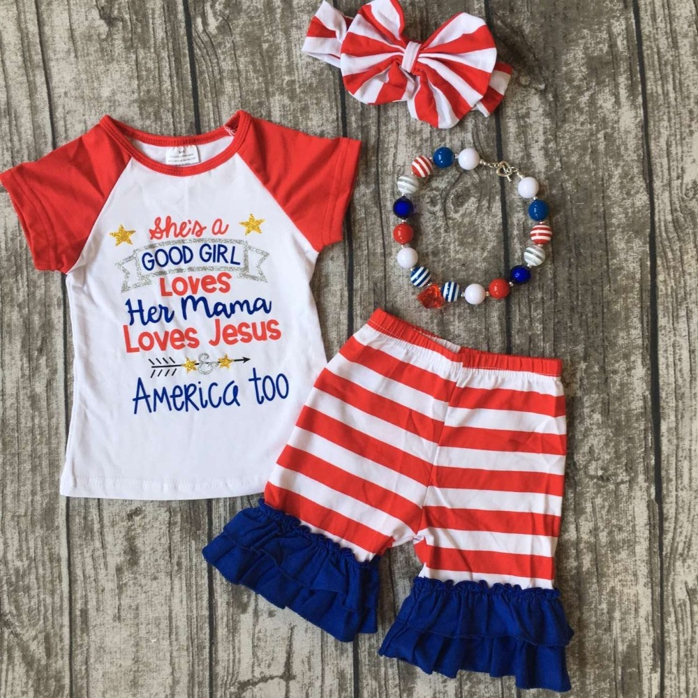 baby girls summer shorts clothing children July 4th Patriotic clothes she is a good girl loves her mama outfits with accessories baby kids baseball season clothes baby girls love baseball clothing girls summer boutique baseball outfits with accessories