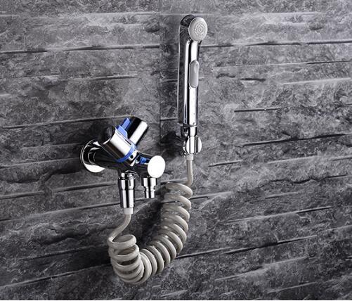 Brass chrome shattaf Women Hand held Bidet Shower set Mixer Portable bidet spray faucet with elastic hose ducha higienica high pressure toilet bidet faucet cold and hot water tap polish chrome bidet mixer ducha higienica