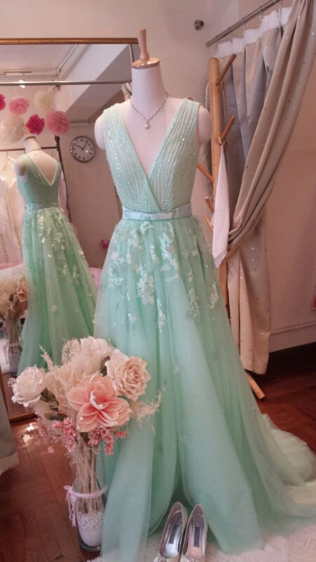 Mint Green 100% Real Sample V Neck Bow Heavy Beading Lace Applique Tulle A Line Formal Long Evening Dresses Plus Size