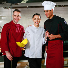 (5 get 10% off, 10 get apron)Classy man/woman head chef wear uniform clothes long sleeve restaurant hotel kitchen coverall
