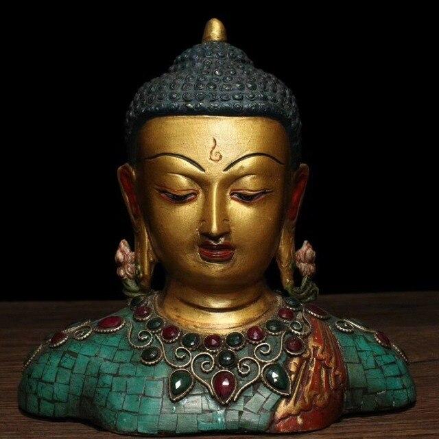 """christmas 6"""" Tibet Buddhism Bronze Inlay turquoise Gem Shakyamuni bust Buddha statue halloween"""