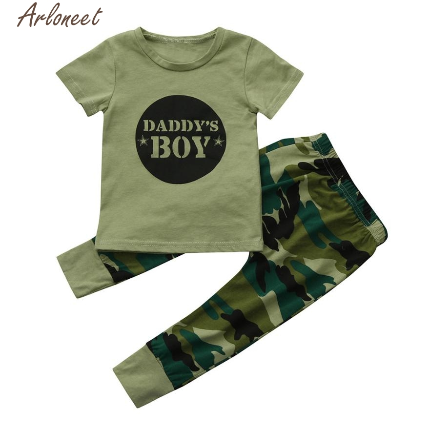 ARLONEET New Year Fashion Christmas pajamas2Pcs Newborn Toddler Baby Boys Letter Tops Camouflage Pants Outfits Set Clothes Oct19