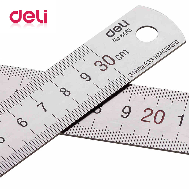 Deli 1pcs Metal Ruler 30cm Stainless Steel Straight Ruler Measuring Scale Ruler Art Accessories Office School Supplies 8463(China)
