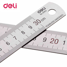 Deli 1pcs Metal Ruler 30cm Stainless Steel Straight Measuring Scale Art Accessories Office School Supplies 8463