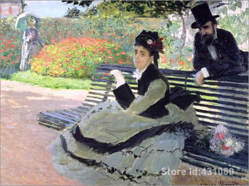 Famous Claude Monet's Paintings Madame Monet on a Garden Bench Art Gallery for bedroom High quality Hand painted