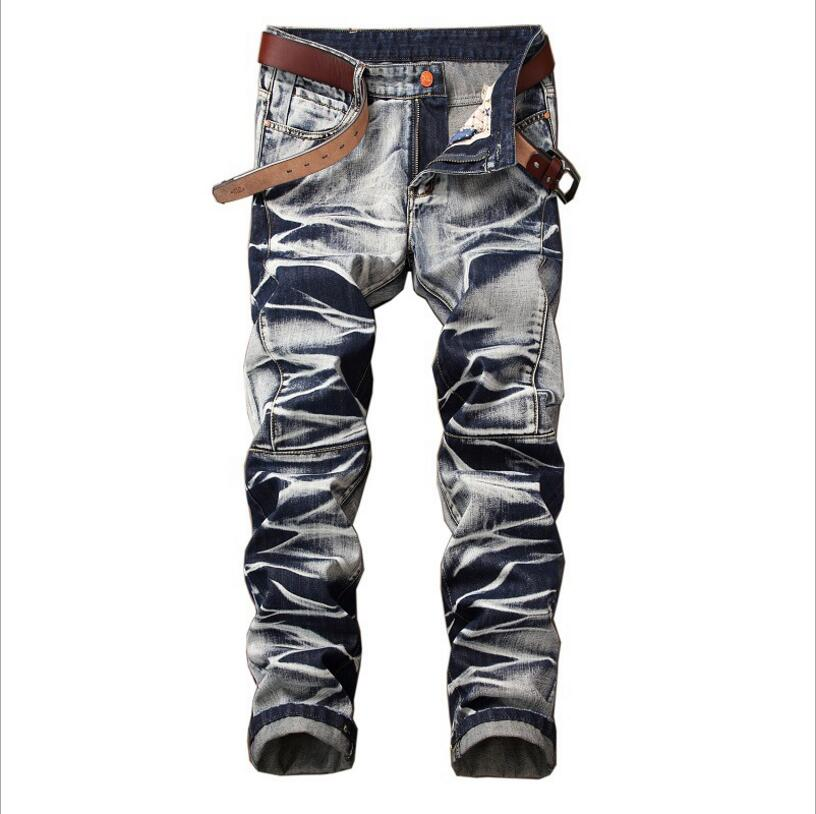High Street Style Vintage   Jeans   New Fashion Men Straight Denim   Jeans   Large Size Men Cotton Motorcycle   jean   Pants Size 42