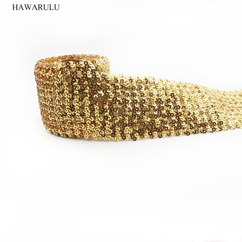 Golden sequins beads lace dance costumes accessories sports dance sequins headbands shiny hairbands competitions performances in Lace from Home Garden