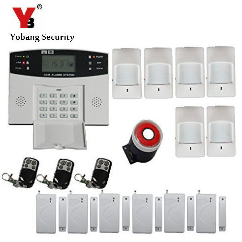 YobangSecurity Wireless Wired GSM Home Burglar Security GSM Alarm System Russian Spanish Czech Italian Voice Alarm Sensor Kit yobangsecurity english spanish russian voice 4 wire 100 wireless defense zones gsm pstn home alarm system door window sensor kit