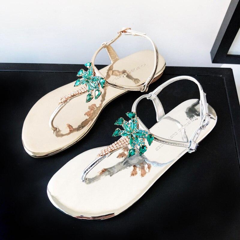 Estrecha Mujer Tangas Flip Pic Pic De Jeweled Mujeres Banda Cristal As flop Pisos A Sandalias Mano Flores as Hechas Palmera Nuevos 2018 qXT77O