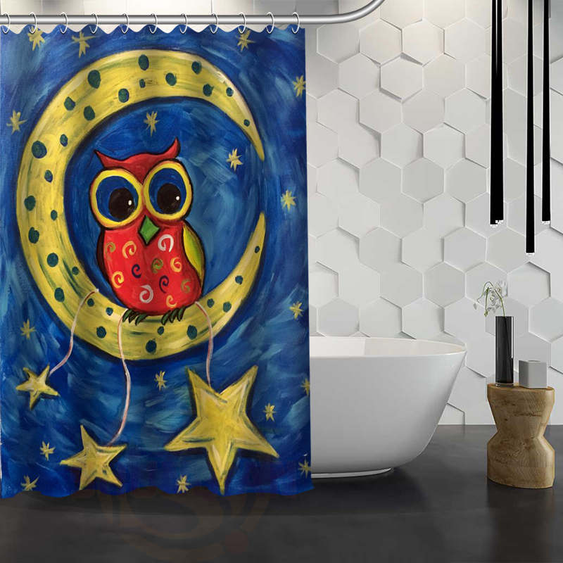 Hot Sale Custom Black Night Owl Shower Curtain Waterproof Fabric Bath Curtain for Bathroom F#Y1-17