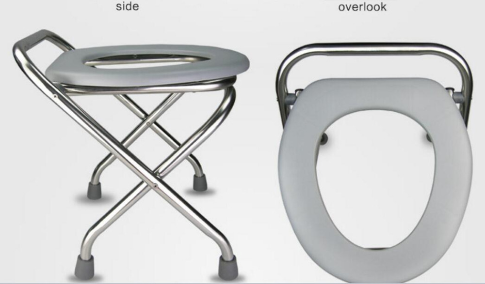 38cm height stainless steel folding skidproof pregnant woman Mobile potty chair The aged Commode chair Sit stool mds89664h steel bedside commode