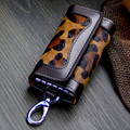 2017 New Women Solid Key Wallets Two Button Key Holder Head Layer Leather Causal  Two Color Key Bag High Quality Key Case