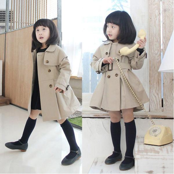 Niños niñas bebés larga chaqueta cazadora de manga delgada Outwear Trench nueva capa